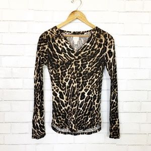 Lucky Brand Leopard Waffle Thermal Top